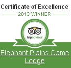Elephant Plains - certificate of excellence